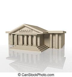 3D, render, biblioteca, predios, Reflexão, isolado,...