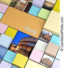 Square background with pastel colors and holidays photos,...