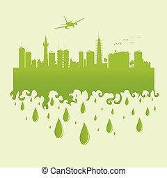 plane above the city on a green vector illustration
