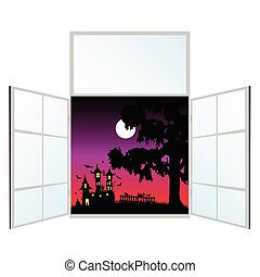 view from the window on a halloween vector illustration