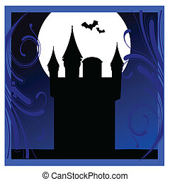 castle with bats in the blue frame vector illustration