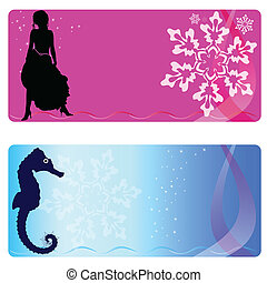 celebration card with girl and sea horse art vector illustration