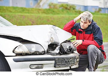 upset man after car crash - Adult upset driver man...