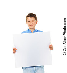 Boy with sign - Portrait of happy young boy holding blank...