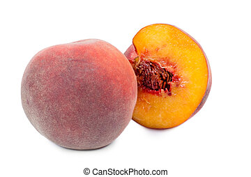 Whole and halved fresh peach - Whole and halved juicy sweet...