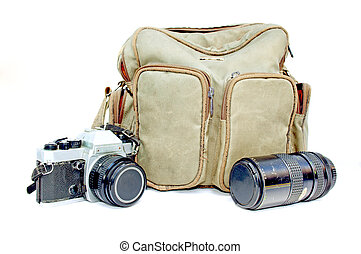 Vintage Camera With Camera Bag And Telephoto Lens