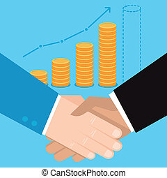 Vector business concept in flat style - hand shake and coins