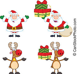 Santa Claus And Reindeer Characters - Santa Claus And...