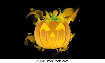 Halloween Burning Carved Pumpkins