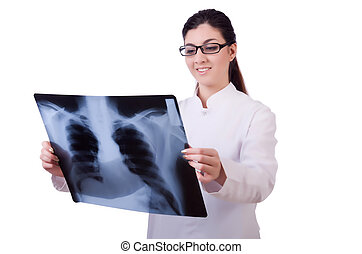 Woman doctor examining x-ray on white