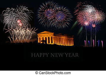 fireworks with greek Temple Happy new year - fireworks with...