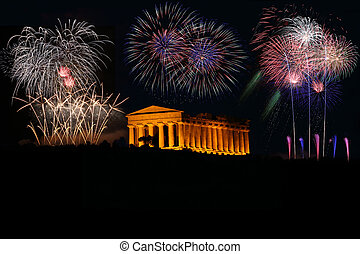 fireworks with greek Temple in Agrigento Sicily Italy