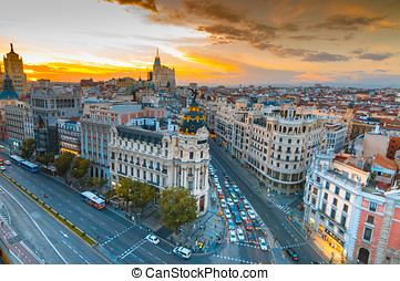 Madrid - Panoramic aerial view of Gran Via street in Madrid...