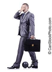 homem negócios, algemada, isolado, branca