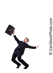 Funny businessman being blown by wind