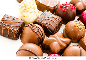 Chocolates - Assortedgourmet chocolate candies in different...