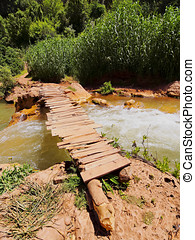 Wooden Bridge on Ouzoud River, Morocco - Wooden Bridge on...