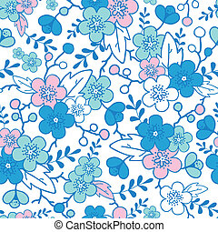 Blue and pink kimono blossoms seamless pattern background -...