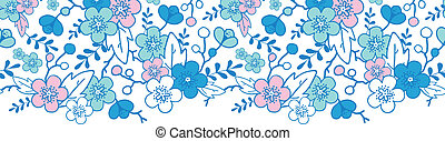 Blue and pink kimono blossoms horizontal seamless pattern...