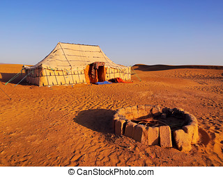 Oasis on the desert, Morocco - Oasis and a camp on Zagora...