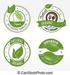 natural labels over white background vector illustration