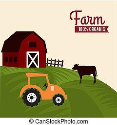 farm label over landscape background vector illustration