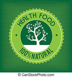 natural label over green background vector illustration