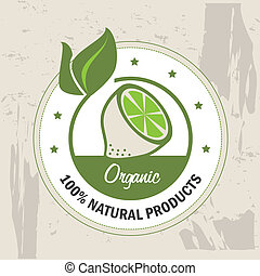 organic label over pattern background vector illustration