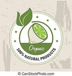 organic label over pattern background vector illustration