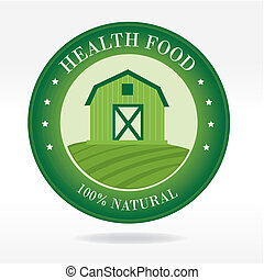 healthy food label over white background vector illustration