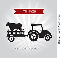 farm fresh label over gray background vector illustration