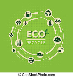 eco recycle label - eco recycle over green background vector...