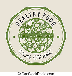 healthy food label - healthy food label over beige...