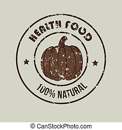 healthy food  label over gray background vector illustration