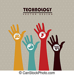 advanced technology icons over beige background vector...