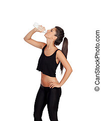Fitness girl drinking water isolated on a white background