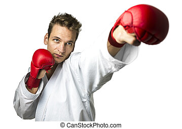 Professional kickboxer isolated over white background.