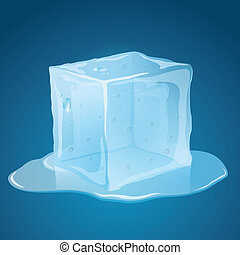 Melting Ice Cube - Transparent, melting, blue ice cube, with...