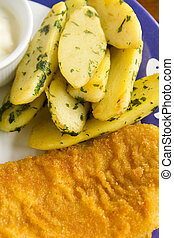 Kipfler Potatoes And Fish - Delicious baked kipfler potatoes...