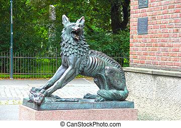 Wolf sculpture in Trondheim city, Norway