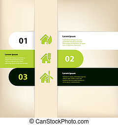 Infographic design with eco house theme - Green black white...