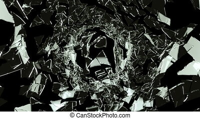 Cracked and Shattered black glass