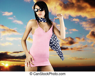 mistery woman - cute girl with sun glasses wearing a red...