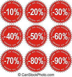 Sale Stickers - Set of Sale red Stickers, discount