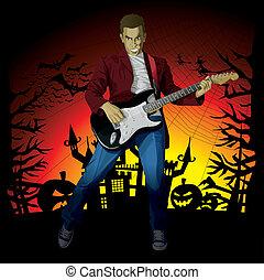 Vector Halloween Background - Vector Guitar Man Halloween...