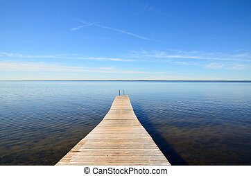 Empty jetty - Wooden jetty at the swedish island Oland in...
