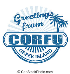 Corfu greek island, stamp - Grunge rubber stamp with text...