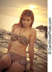 Asian model posing on sunset - Sexy Asian model posing at...