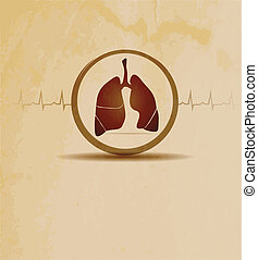 lungs and cardiogram - Medical background with lungs and...