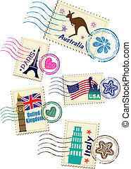 Landmarks stamps set with different country